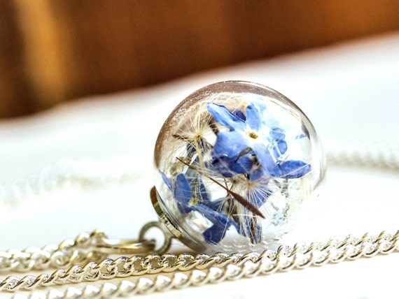 Bohemian statement jewelry Gift for anniversary Love jewelry Pendant or Earrings Forget Me Not My Heart Pressed flower jewelry