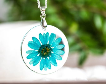 Real Flower Necklace,  Resin Pendant real flower, real Flower crystal  resin pendant on silver chain, jewelry for woman