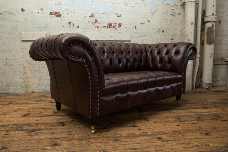 Pleasant Handmade 2 Seater Vintage Dark Brown Leather Chesterfield Sofa Onthecornerstone Fun Painted Chair Ideas Images Onthecornerstoneorg