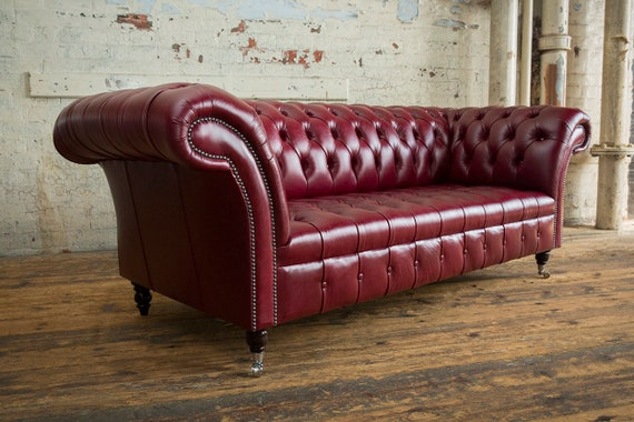 Handmade Large 3 Seater Distressed Vintage Dark Red Leather Chesterfield  Sofa