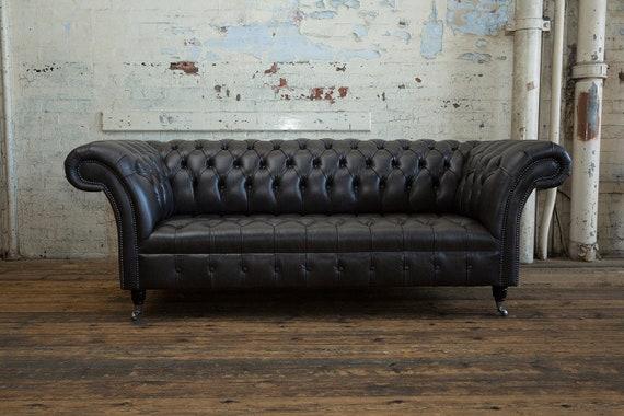 Handmade 3 Seater Vintage Black Leather Chesterfield Sofa | Etsy