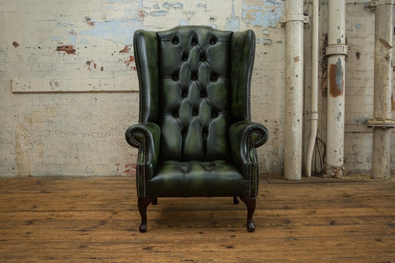 Strange British Handmade Antique Green Leather Chesterfield Highback Wing Chair Camellatalisay Diy Chair Ideas Camellatalisaycom