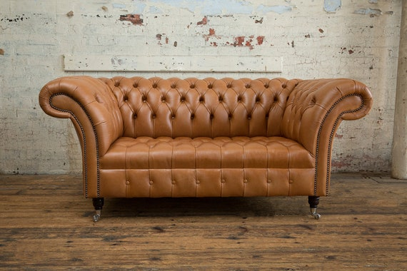 Handmade 2 Seater Vintage Tan Leather Chesterfield Sofa Etsy