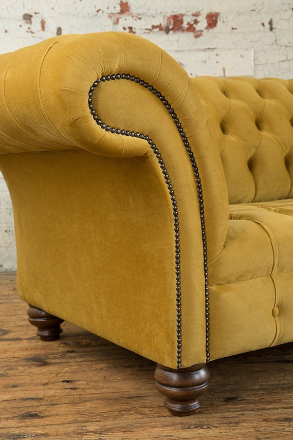 Pleasing Handmade Mustard Gold Velvet 3 Seater Chesterfield Sofa Gmtry Best Dining Table And Chair Ideas Images Gmtryco