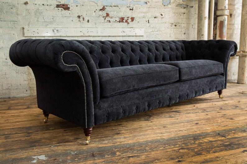 British Handmade Black Velvet 4 Seater Chesterfield Sofa | Etsy