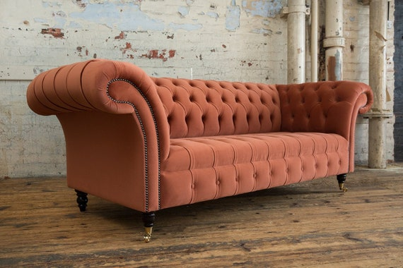 Handmade Burnt Orange Velvet 3 Seater Chesterfield Sofa Etsy
