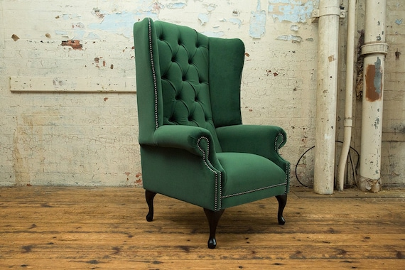 British Handmade Emerald Green House, Green Velvet Wing Chair