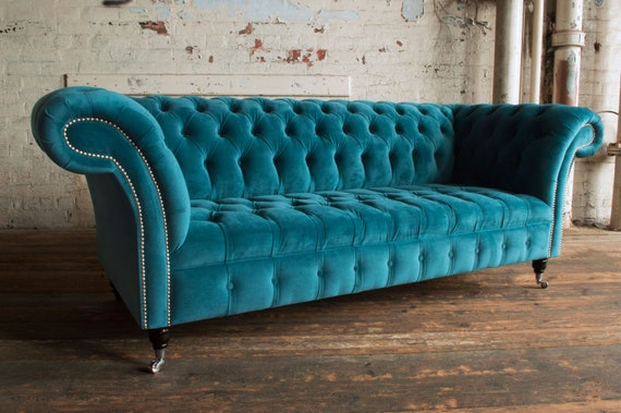 Unique British Handmade Teal Velvet 3 Seater Chesterfield Sofa   Button Seat by Etsy