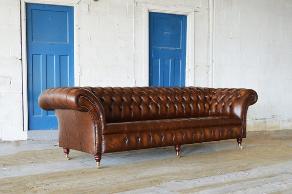 Handmade Large 4 Seater Antique Tan Leather Chesterfield Sofa Etsy