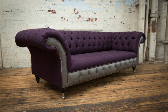 Brilliant Handmade Purple Wool With Antique Grey Leather 3 Seater Chesterfield Sofa Squirreltailoven Fun Painted Chair Ideas Images Squirreltailovenorg
