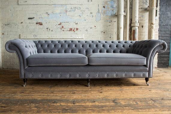 Superb Unique British Handmade Velvet 4 Seater Chesterfield Sofa Reflex Cushion Seat Slate Grey Pdpeps Interior Chair Design Pdpepsorg