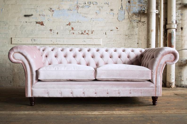 British Handmade Vintage Dusty Pink Velvet Chesterfield Sofa Etsy
