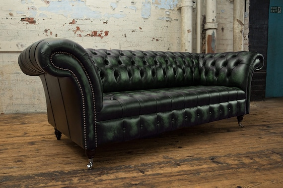 Pleasant Handmade 3 Seater Distressed Antique Green Leather Chesterfield Sofa Gmtry Best Dining Table And Chair Ideas Images Gmtryco
