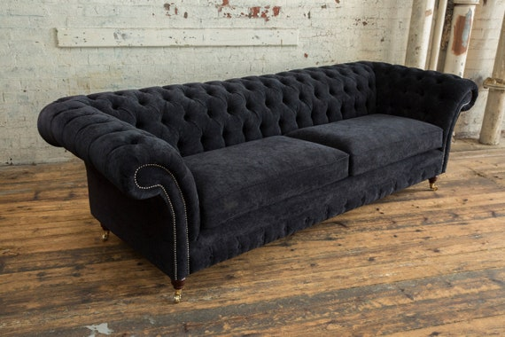 British Handmade Black Velvet 4 Seater Chesterfield Sofa