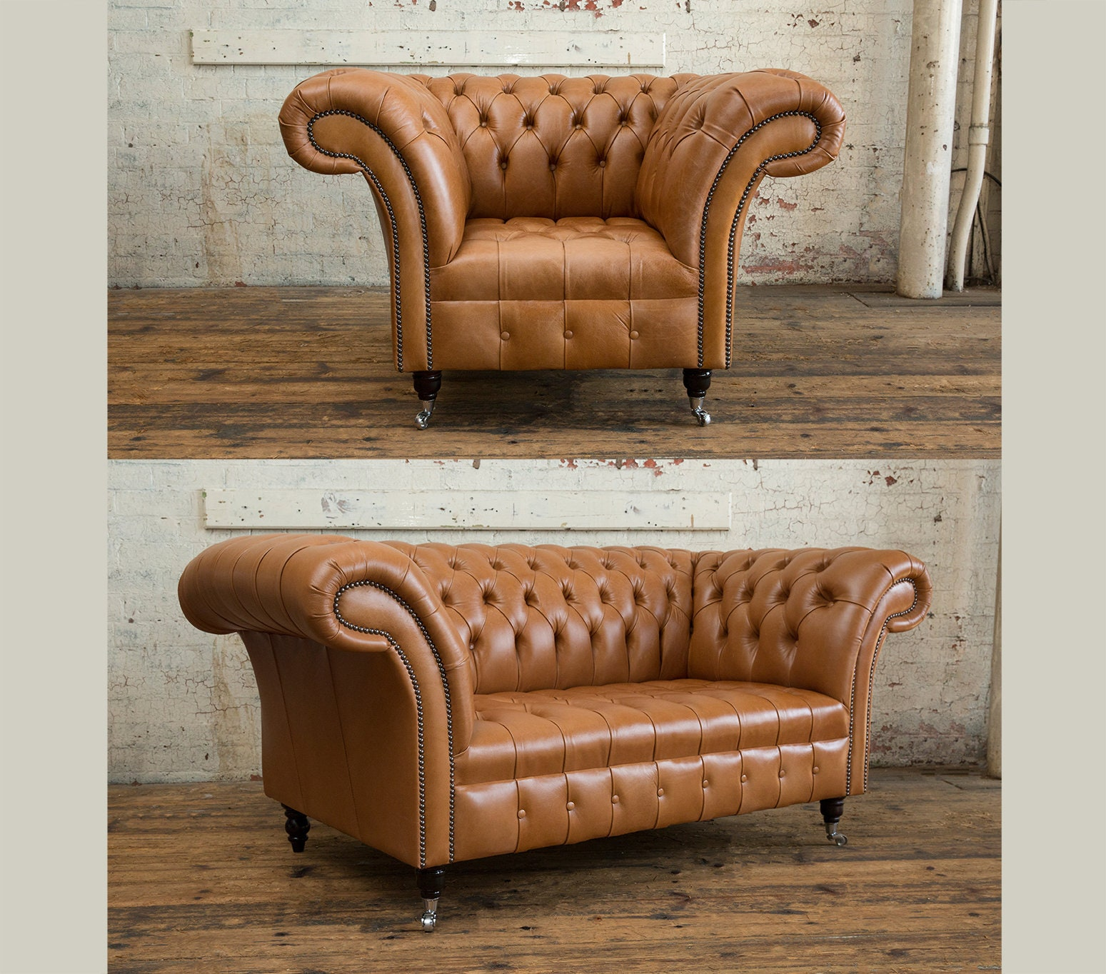 Handmade Distressed Vintage Tan Leather Chesterfield Single Armchair And 2 Seater Sofa