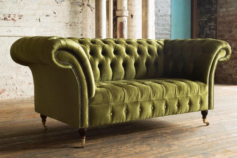 British Handmade Green Velvet 2 Seater Chesterfield Sofa