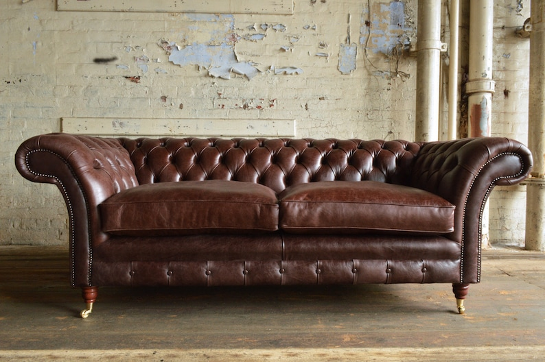 Handmade Vintage Dark Brown Leather Chesterfield Sofa, Classic Deep  Buttoned Design