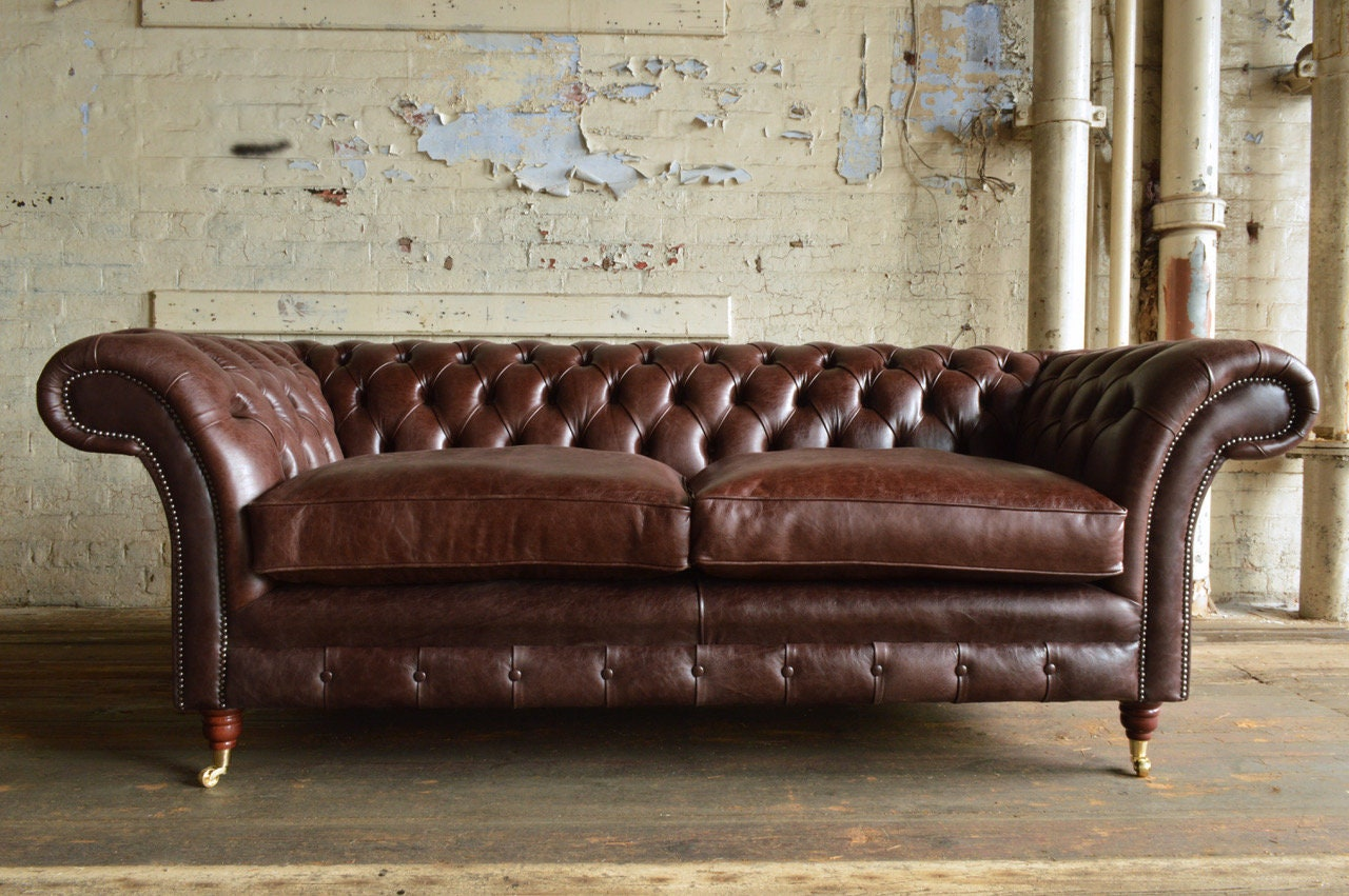 Handmade Vintage Dark Brown Leather Chesterfield Sofa Classic Deep Buttoned Design