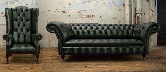 Handmade Large 3 Seater Distressed Green Chesterfield Sofa & Wing Chair