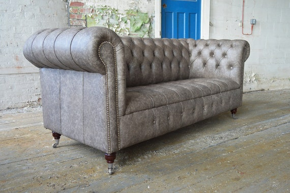 British Handmade Mottled Grey Leather 3 Seater Chesterfield Sofa
