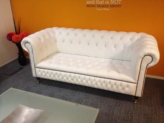 Outstanding British Handmade Winter White Leather 3 Seater Chesterfield Sofa Short Links Chair Design For Home Short Linksinfo