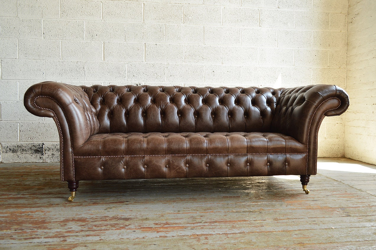 Handmade Large 3 Seater Distressed Vintage Hazel Brown Leather Chesterfield Sofa