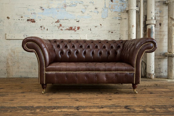 Handmade 2 Seater Vintage Dark Brown Leather Chesterfield Sofa