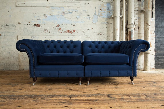 Amazing British Handmade 3 Seater Navy Blue Velvet Chesterfield Sofa Split Design Ncnpc Chair Design For Home Ncnpcorg