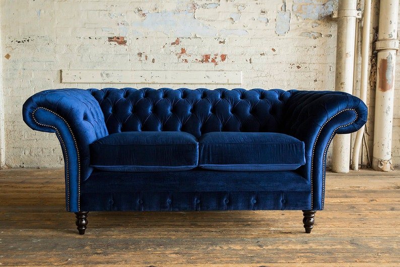 Peachy Unique British Handmade Velvet 2 Seater Chesterfield Sofa Reflex Cushion Seat Soft Navy Gmtry Best Dining Table And Chair Ideas Images Gmtryco