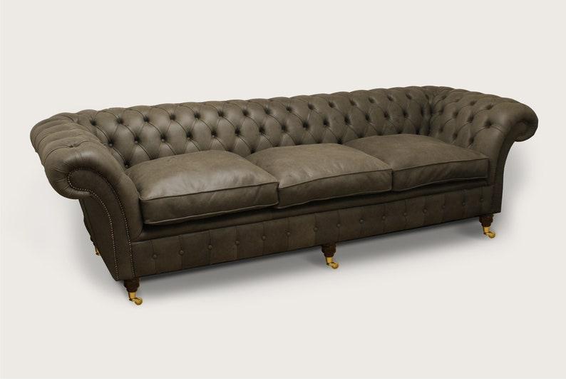 Unique British Handmade Sage Green Leather 4 Seater Chesterfield Sofa -  Reflex Cushion Seat