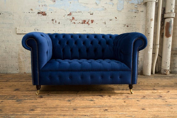 Handmade 2 Seater Velvet Chesterfield Sofa - Navy Blue