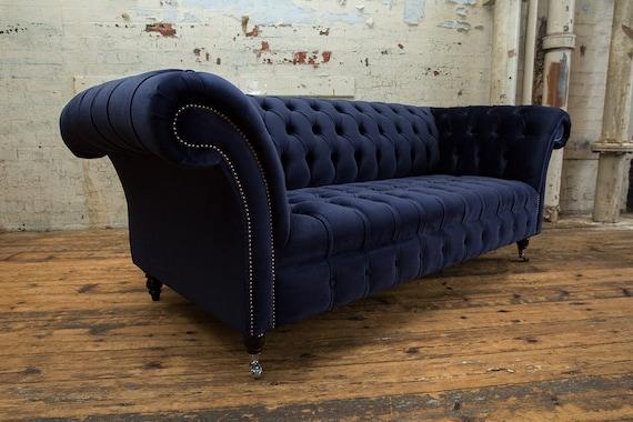 Sensational British Handmade Ink Blue Velvet 3 Seater Chesterfield Sofa Ncnpc Chair Design For Home Ncnpcorg