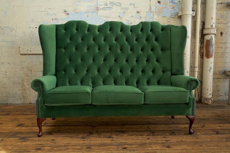 British Handmade Forest Green Velvet 3 Seater High Back Etsy