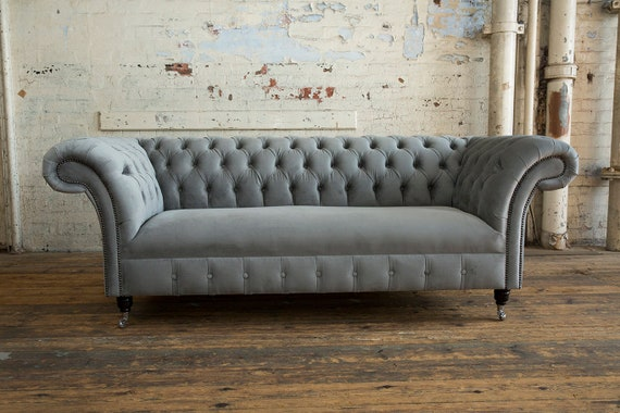 Unique British Handmade Velvet 3 Seater Chesterfield Sofa Fixed Reflex Cushion Seat Mid Grey