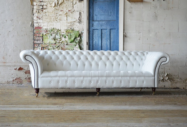 Handmade Large 4 Seater White Leather Chesterfield Sofa Etsy