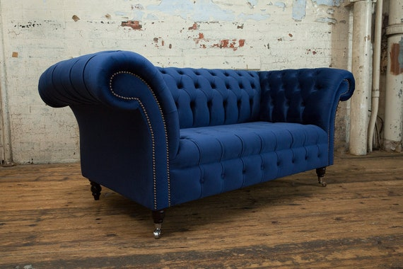 British Handmade Navy Blue Velvet 2 Seater Chesterfield Sofa
