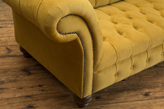 Surprising Handmade Mustard Gold Velvet 3 Seater Chesterfield Sofa Gmtry Best Dining Table And Chair Ideas Images Gmtryco