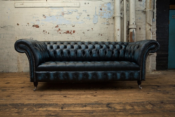 Surprising Handmade 3 Seater Distressed Antique Blue Leather Chesterfield Sofa Gmtry Best Dining Table And Chair Ideas Images Gmtryco