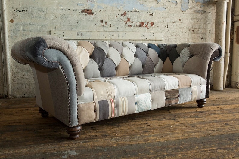 Unique British Handmade 3 Seater Patchwork Chesterfield Sofa Etsy