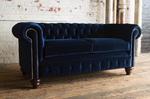 Fantastic Unique British Handmade Navy Velvet 3 Seater Chesterfield Sofa Reflex Cushion Seat Gmtry Best Dining Table And Chair Ideas Images Gmtryco