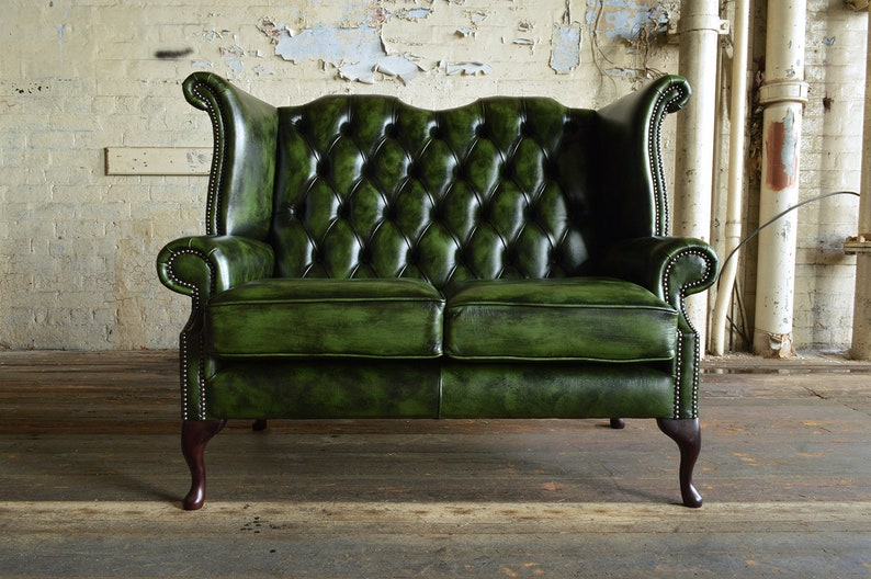 British Handmade Traditional Green Leather 2 Seater High Back Etsy