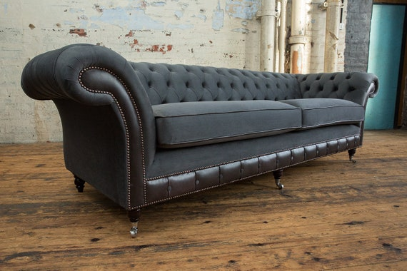 Unique British Handmade Grey Velvet & Leather 4 Seater Chesterfield Sofa -  Reflex Cushion Seat - GREY