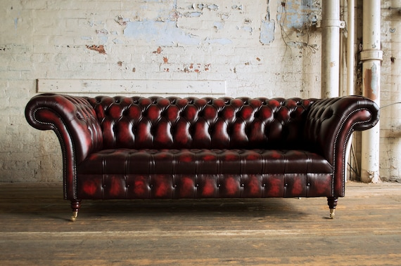 Handmade 3 Seater Distressed Antique Red Leather Chesterfield Sofa