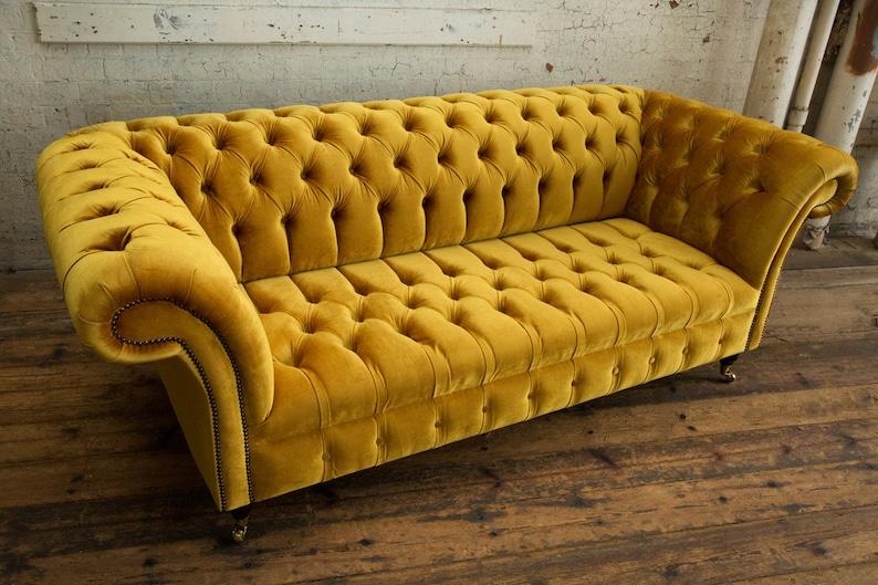 Unique British Handmade Yellow Gold Velvet 3 Seater Etsy