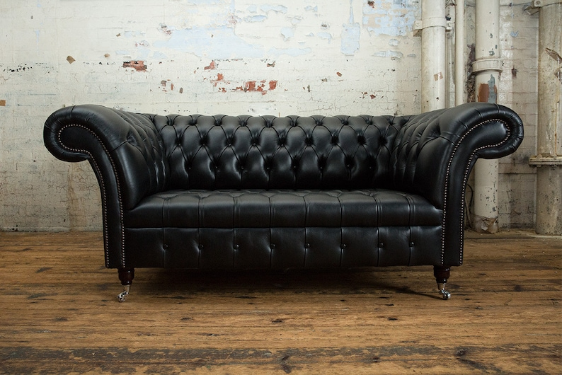Handmade 2 Seater Vintage Black Leather Chesterfield Sofa