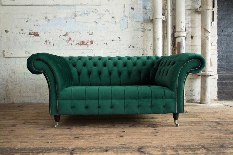 Handmade Emerald Green Velvet 2 Seater Chesterfield Sofa