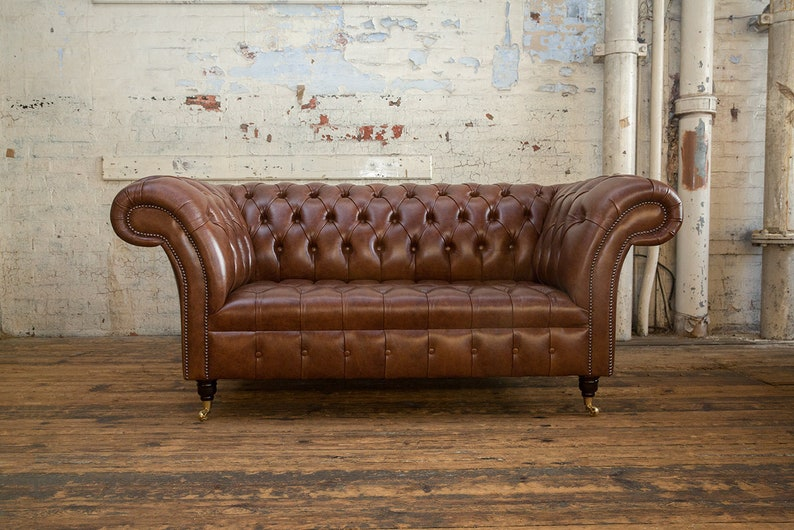 Handmade 2 Seater Vintage Cigar Leather Chesterfield Sofa Etsy