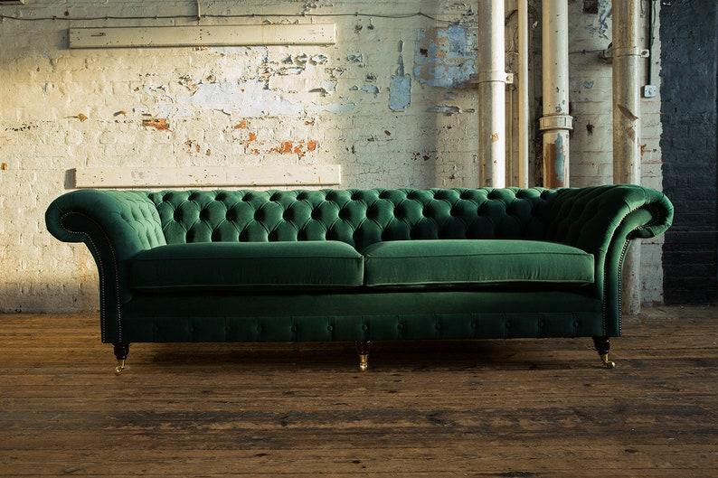 British Handmade Emerald Green Velvet 4 Seater Chesterfield Etsy