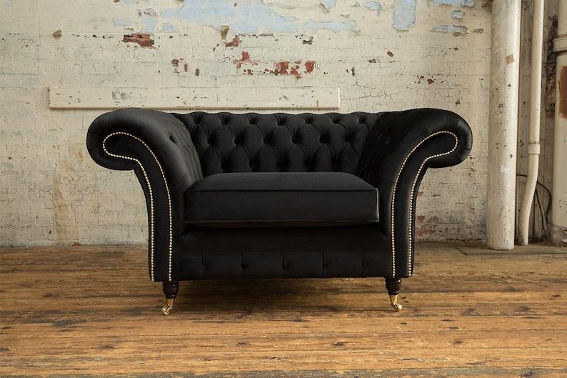British Handmade Black Velvet Chesterfield Snuggle Chair | Etsy