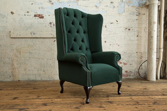 Emerald Green Wingback Chair Off 66, Green Velvet Wing Chair